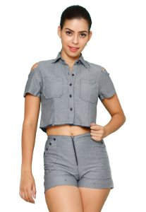 Conjunto de Short e Blusa Jeans