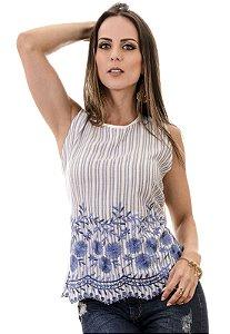 Blusa Sem manga Com Tecido Barrado Bordado