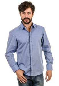 Camisa Slim Fit Botão Invisivel