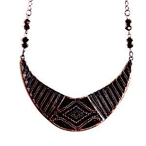 Maxi Colar placa cobre envelhecido com pedra marrom diamonds