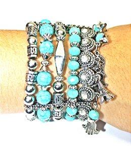 Bracelete Pedra Azul com Pingente