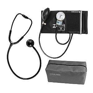 Estetoscópio Duplo Black ES1230 Bic + Aparelho de Pressão Preto PAMED