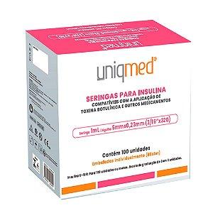 Seringa Insulina 1mL 100UI ag. 5x0,23mm 32G BL C/100un UNIQMED