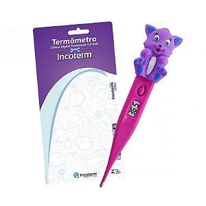 Termômetro Digital Kids Rosa Com Gatinho Incoterm