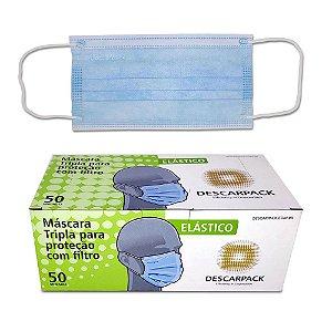 Máscara Tripla Com Elástico Caixa C/ 50 Un. Descarpack