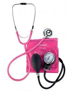 Conjunto Esfigmomanômetro E Estetoscópio Duplo C100 Pink Incoterm