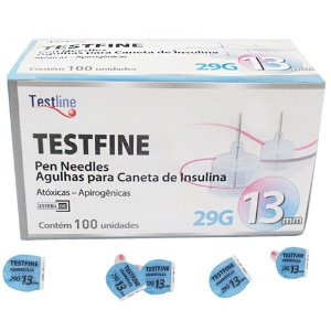 AGULHA PARA CANETA DE INSULINA 13MM 29G C/100UN TESTFINE