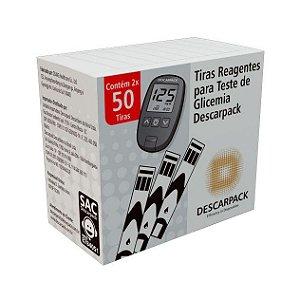 Tiras reagentes para teste de glicemia c/ 100 un Descarpack