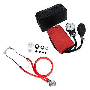 Kit Estetoscópio Rappaport + Aparelho de Pressão Vermelho Premium