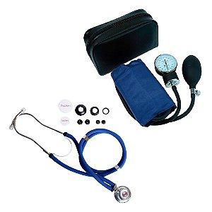 Kit Estetoscópio Rappaport + Aparelho de Pressão Azul Premium