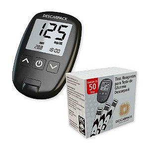 Sistema de monitoramento de glicemia + 100 tiras Descarpack