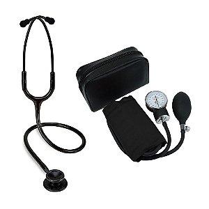 Estetoscópio Black Edition Spirit + Aparelho de Pressão Preto Premium