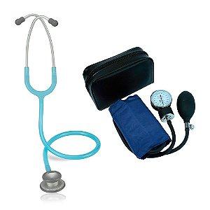 Estetoscópio Pro-Lite Azul Claro Perolizado Spirit + Aparelho de Pressão Azul Premium