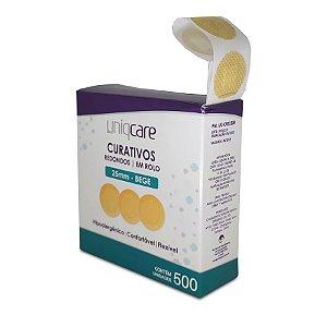 Curativo Redondo 25mm Bege Rolo c/500 Uniqcare