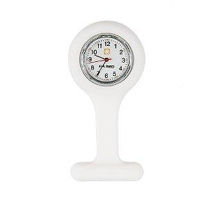 Relógio de Lapela Silicone Branco PAMED