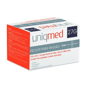 Escalpe SCALP 27G Luer Lock c/100 un. Uniqmed