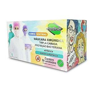Máscara Cirúrgica Tripla c/ Elástico COLORS caixa c/50 un. PROTDESC