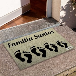 Capacho Família Pegadas Personalizado