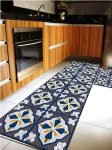 Kit Cozinha  Azulejo Portugues Marrom E Verde