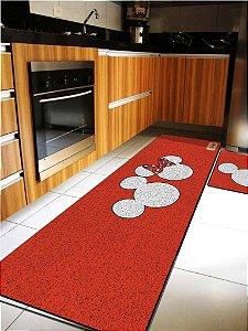 Kit Cozinha  Cabeça Mickey E Minnie Vermelho
