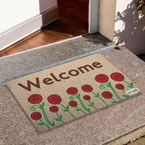 Capacho Frase Welcome Floral