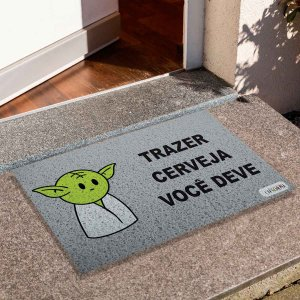 Capacho Yoda Trazer Cerveja Cinza