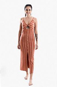 Vestido Botões Peletizado Linen
