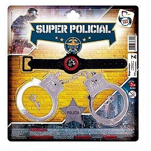 Kit Policial Algema Relógio e Distintivo de Policia SUPER POLICIAL Ref 399