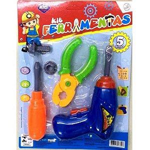 Kit de ferramentas infantil com 5 pecas - Furadeira - Chave de Fendas - Alicate - Rosca - Parafuso - AB7309