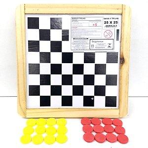 Jogo de Damas e Jogo de Ludo ou Trilha - Tabuleiro de Madeira - 23,5 x 23,5 cm - 4035 - LUFE