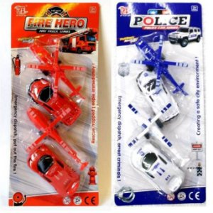 Kit de Resgate FIRE HERO ou POLICE com 2 Carros e 2 Helicopteros  - Altimix - AB7288