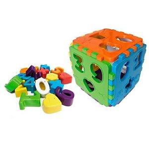 Brinquedo Educativo Pedagógico Educa Mais  - Cubo Didático de Encaixe - BQ7010S-0675- Kendy