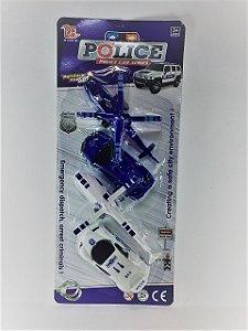 kit policial de veículos - 4 peças - 2 carros e 2 helicópteros - AB7288