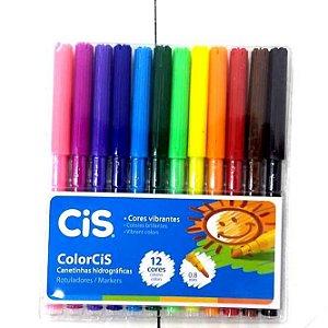 Caneta HIdrografica 12 cores - Canetinha Hidrocor 12 cores ColorCIS - 2647