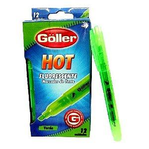 Marca Texto GOLLER HOT Verde  Fluorescente  Kit com 12 Marcador de Texto - 7080-7081 G-764 7081