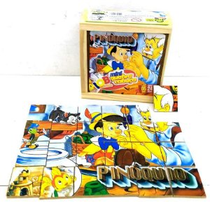 Brinquedo Educativo Jogo Pedagógico IOB Madeira - Quebra Cabeca PINOQUIO - Caixa de Madeira - Mini - Ref.10