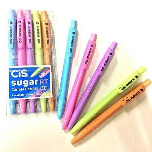 Caneta Esferográfica Cis Sugar RT - estojo com 5 cores tons pasteis - 7281
