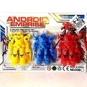 Robo Guerreiro Espacial Android - KIT com 3 Robo Espacial - 8 cm - BA16826