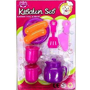 Kit cozinha Infantil - Talheres Pratinho Jarra e Comidinha -sortido - SD11450