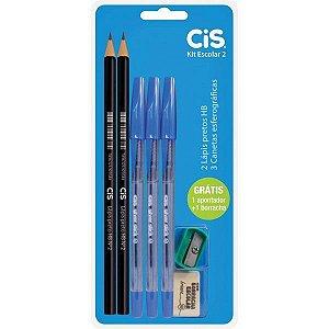 Kit Escolar 7 em 1 CIS -  Lapis HB - caneta esferografica - Borracha - Apontador - Ref. 3980