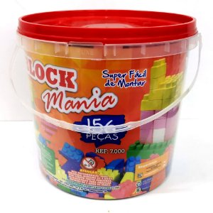 Blocos de Montar Block Mania com 156 Peças Alfem Plastic 7000 no Balde
