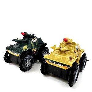 Carrinho Cambalhota a fricção com 10 cm - Carro militar - Veiculo de Combate SQ2313