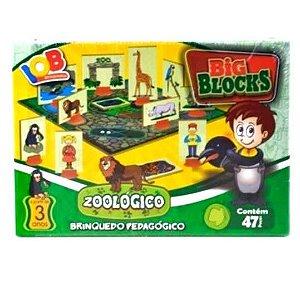 Brinquedo Educativo Jogo Pedagógico - Big Blocks ZOOLOGICO - IOB Madeira Artepinus ref.86