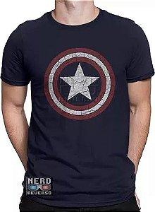Camisa Capitão America 100% Algodão Azul Escuro