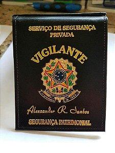 Carteira de vigilante couro legítimo e personalizada