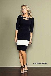 Vestido bicolor bordado