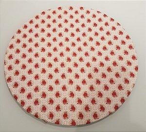 Capa de tecido para sousplat rosas com fundo bege