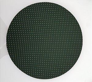 Capa de tecido para sousplat verde com poas dourados
