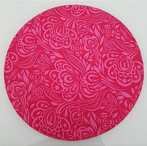 Capa de tecido para sousplat fundo pink com arabersco