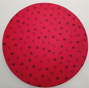 Capa de tecido para sousplat fundo vermelho com ancoras pretas
